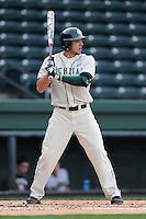 Third baseman Justin Hovis (8) of the Michigan State Spartans bats in a game against the Harvard Crimson on Saturday, March 15, 2014, at Fluor Field at the West End in Greenville, South Carolina. Michigan State won, 4-0. (Tom Priddy/Four Seam Images)