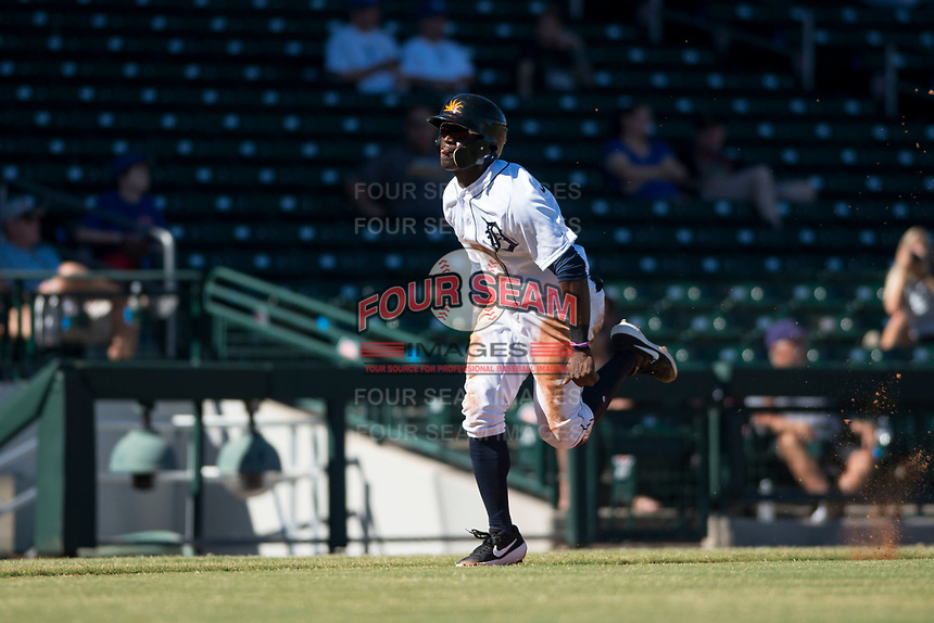 Mesa Solar Sox center fielder Daz Cameron (13), of the Detroit Tigers organization, runs home on a sacrifice fly during an Arizona Fall League game against the Glendale Desert Dogs at Sloan Park on October 27, 2018 in Mesa, Arizona. Glendale defeated Mesa 7-6. (Zachary Lucy/Four Seam Images)
