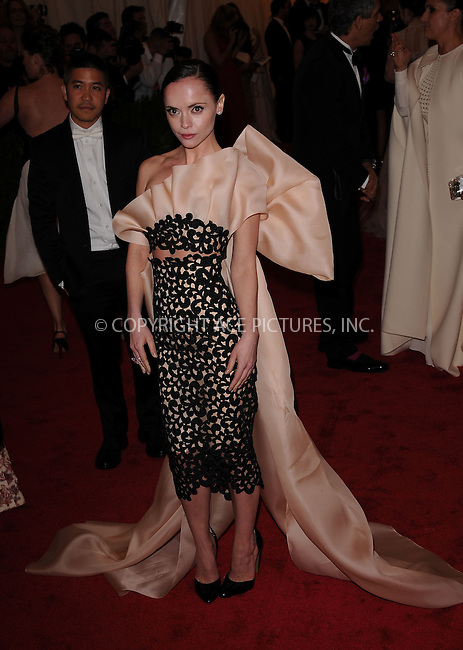 WWW.ACEPIXS.COM . . . . . ....May 7 2012, New York City....Christina Ricci arriving at the 'Schiaparelli And Prada: Impossible Conversations' Costume Institute Gala at the Metropolitan Museum of Art on May 7, 2012 in New York City.....Please byline: KRISTIN CALLAHAN - ACEPIXS.COM.. . . . . . ..Ace Pictures, Inc:  ..(212) 243-8787 or (646) 679 0430..e-mail: picturedesk@acepixs.com..web: http://www.acepixs.com