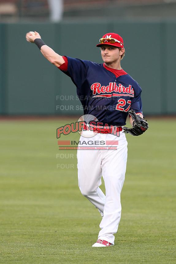 Memphis Redbirds outfielder Aaron Luna #27 before a game versus the Round Rock Express at Autozone Park on April 28, 2011 in Memphis, Tennessee.  Memphis defeated Round Rock by the score of 6-5 in ten innings.  Photo By Mike Janes/Four Seam Images