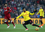 17th March 2018, Anfield, Liverpool, England; EPL Premier League football, Liverpool versus Watford; Miguel Angel Britos of Watford plays a long pass
