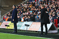 Swansea City manager Paul Clement and Bournemouth manager Eddie Howe during the Premier League match between Swansea City and Bournemouth at the Liberty Stadium, Swansea, Wales, UK. Saturday 25 November 2017