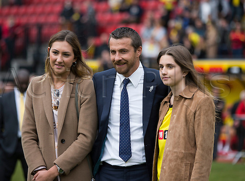 02.05.2015.  Watford, England. Skybet Championship. Watford versus Sheffield Wednesday. Slaviša Jokanović, the Watford manager and his family at the final whistle.