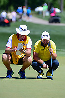 Andy Sullivan (ENG) looks over his putt on 2 during round 1 of the Shell Houston Open, Golf Club of Houston, Houston, Texas, USA. 3/30/2017.<br /> Picture: Golffile | Ken Murray<br /> <br /> <br /> All photo usage must carry mandatory copyright credit (&copy; Golffile | Ken Murray)