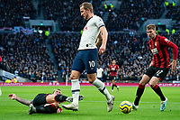 Tottenham Hotspur's Harry Kane is tackled by Bournemouth's Steve Cook <br /> <br /> Photographer Stephanie Meek/CameraSport<br /> <br /> The Premier League - Tottenham Hotspur v Bournemouth - Saturday 30th November 2019 - Tottenham Hotspur Stadium - London<br /> <br /> World Copyright © 2019 CameraSport. All rights reserved. 43 Linden Ave. Countesthorpe. Leicester. England. LE8 5PG - Tel: +44 (0) 116 277 4147 - admin@camerasport.com - www.camerasport.com