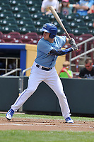 Omaha Storm Chasers center fielder Donnie Dewees (22) in action against the Oklahoma City Dodgers at Werner Park on June 24, 2018 in Omaha, Nebraska. Omaha won 8-0.  (Dennis Hubbard/Four Seam Images)