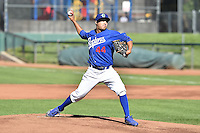 Bernardo Reyes (44) of the Ogden Raptors delivers a pitch to the plate against the Grand Junction Rockies on June 19, 2014 at Lindquist Field in Ogden, Utah. (Stephen Smith/Four Seam Images)