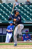 San Antonio Missions second baseman Keston Hiura (18) at bat during a Pacific Coast League game against the Iowa Cubs on May 2, 2019 at Principal Park in Des Moines, Iowa. Iowa defeated San Antonio 8-6. (Brad Krause/Four Seam Images)