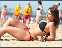 BNPS.co.uk (01202 558833)<br /> Pic:   RogerArbon/BNPS<br /> <br /> Karolina Szelag, 27.<br /> <br /> Brits head to the beach in Bournemouth, as the mercury rises even higher during the bank holiday weekend.
