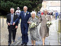 BNPS.co.uk (01202 558833)<br /> Pic: AnthonyOliver/BNPS<br /> <br /> Newlyweds Margaret(92) and Rob (91) leaving the Minster with their Best man and Maid of Honour.<br /> <br /> A couple with a combined age of 183 have tied the knot to become Britain's oldest newlyweds.<br /> <br /> Rob Cave, 91, and 92-year-old Margaret James, a former actress who appeared in the classic romance film Brief Encounter, wed in front of 150 friends and family at Wimborne Minster in Dorset.<br /> <br /> The church-going couple have known each other for over 30 years but became an item after their respective spouses died within three months of each other in 2015.<br /> <br /> They consoled each other to begin with and from seeing each other every day, their friendship developed into a romance.
