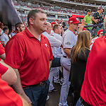 7 October 2016: Washington Nationals Visiting Clubhouse Manager Matt Rosenthal prepares for his introduction prior to the first game of the NLDS between the Washington Nationals and the Los Angeles Dodgers at Nationals Park in Washington, DC. The Dodgers edged out the Nationals 4-3 to take the opening game of their best-of-five series. Mandatory Credit: Ed Wolfstein Photo *** RAW (NEF) Image File Available ***