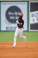 Chattanooga Lookouts second baseman Nick Gordon (1) rounds the bases after hitting a home run in the bottom of the first inning during a game against the Jackson Generals on May 9, 2018 at AT&T Field in Chattanooga, Tennessee.  Chattanooga defeated Jackson 4-2.  (Mike Janes/Four Seam Images)