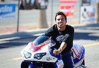 Oct. 28 2011; Las Vegas, NV, USA: NHRA pro stock motorcycle rider Hector Arana Jr during qualifying for the Big O Tires Nationals at The Strip at Las Vegas Motor Speedway. Mandatory Credit: Mark J. Rebilas-