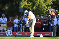 Henrik Stenson(Team Europe) on the 16th tee during Saturday afternoon Fourball at the Ryder Cup, Hazeltine National Golf Club, Chaska, Minnesota, USA.  01/10/2016<br /> Picture: Golffile | Fran Caffrey<br /> <br /> <br /> All photo usage must carry mandatory copyright credit (&copy; Golffile | Fran Caffrey)
