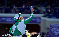DEL MAR, CA - NOVEMBER 04: Irad Ortiz Jr., aboard Bar of Gold #5 celebrates winning the Breeders' Cup Filly & Mare Sprint race on Day 2 of the 2017 Breeders' Cup World Championships at Del Mar Racing Club on November 4, 2017 in Del Mar, California. (Photo by Jamey Price/Eclipse Sportswire/Breeders Cup)