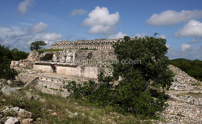 "Eastern Façade of the Codz Poop (""Rolled-up matting"" in Maya), Display of Lattice Work and stylized huts, Puuc Architecture, 700 ? 900 AD, Kabah, Yucatan, Mexico. Picture by Manuel Cohen"