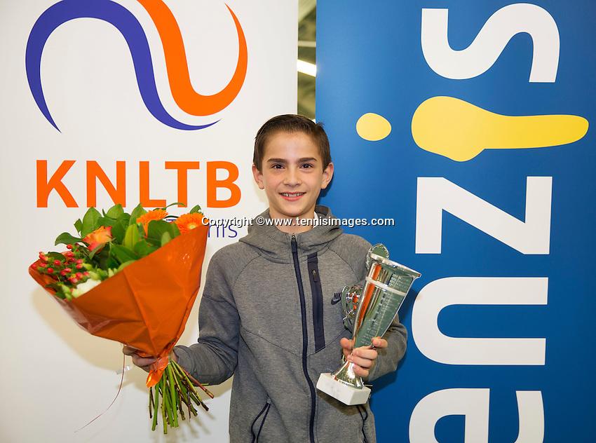 Rotterdam, The Netherlands, March 13, 2016,  TV Victoria, NOJK 12/16 years, Winner  boys 12 years Steffan van Weldam (NED) <br /> Photo: Tennisimages/Henk Koster