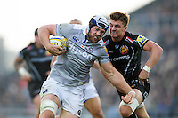 Dave Attwood of Bath Rugby looks to get past Henry Slade of Exeter Chiefs. Aviva Premiership match, between Exeter Chiefs and Bath Rugby on October 30, 2016 at Sandy Park in Exeter, England. Photo by: Patrick Khachfe / Onside Images