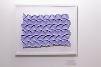 Surface to Structure origami exhibition at Cooper Union, New York. Gallery view. Herringbone Tessellation designed and folded by Jeannine Mosely 2012.