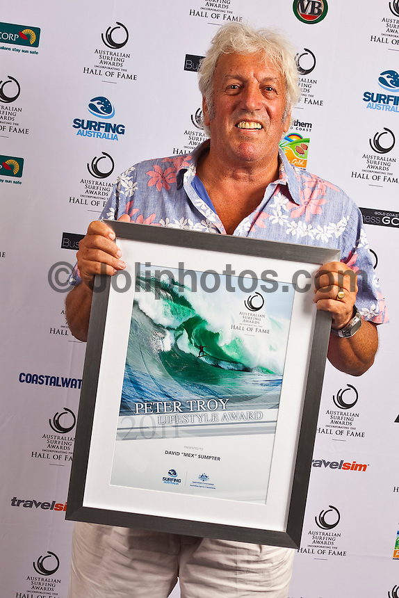 Sunday, 6 February 2011.David Mex Sumpter (AUS) recieved the Peter Troy Lifestyle Award. THE soul and spirit of Australian surfing was on show on the Gold Coast last night with Alby Falzon being elevated into the sport's Hall of Fame at the Australian Surfing Awards.. .Legendary surf filmmaker Falzon became the 33rd member respectively of the Hall of Fame which began with the initial induction of Snow McAllister (Deceased) and 4 x World Champion Mark Richards in 1985..Co-founder of the original Aussie counter-culture surf bible, Tracks, and director of the classic surf film 'Morning of the Earth', Falzon lives up to his reputation as the spiritual father of the alternative surf lifestyle. .Last night's awards at the Arts Centre was organised by Surfing Australia and featured a who's who of the Australian surfing community. .Two time ASP Men's World Champion Mick Fanning was recognized as the Male Surfer of the Year, four time ASP Women's World Champion Stephanie Gilmore was named Female surfer of the year, with recently crowned ASP World Junior champion Jack Freestone notching up the Rising Star Award of Australian surfing.  Photo: joliphotos.com