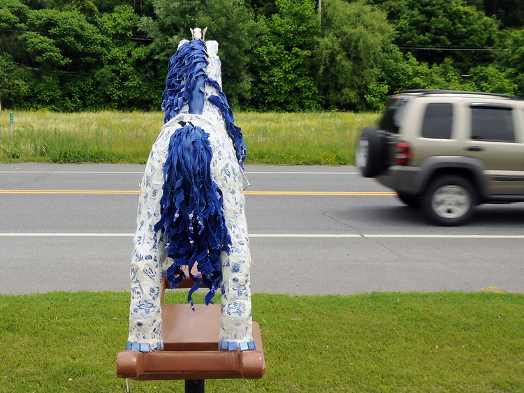 """A view of """"Dinah- The Blue Plate Special"""" created by Donna Dittus, on Routes 9W-32 by Sue's Restaurant, one of the """"Rockin' Around Saugerties"""" theme Statues on display throughout the Village of Saugerties, NY, on Friday, June 9, 2017. Photo by Jim Peppler. Copyright/Jim Peppler-2017."""