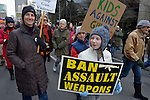 "Hundreds of Seattle residents marched from Westlake Center Park to the Seattle Center on January 13, 2013, calling for stricter regulations of firearms. Sponsored by a network of churches and other groups called ""Stand-up Washington,"" the demonstrators called for a state ban on semi-automatic weapons as well as stricter gun laws."