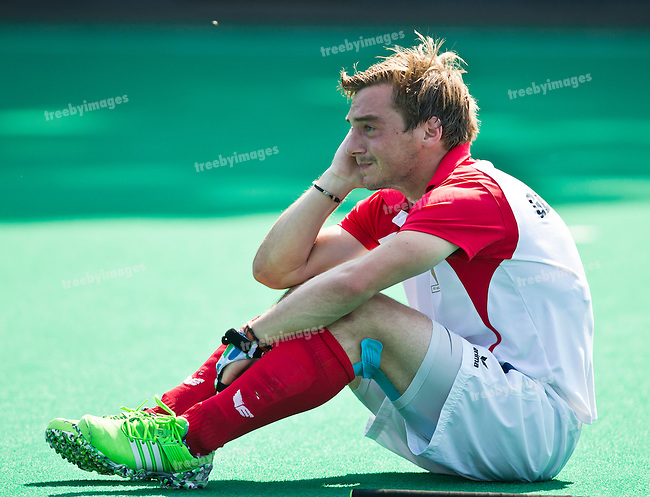 03/07/2015<br /> HWL Semi Final Antwerp Belgium 2015<br /> Malaysia v France M<br /> Tom Genestet is emotional after the loss to Malaysia<br /> Photo: Grant Treeby