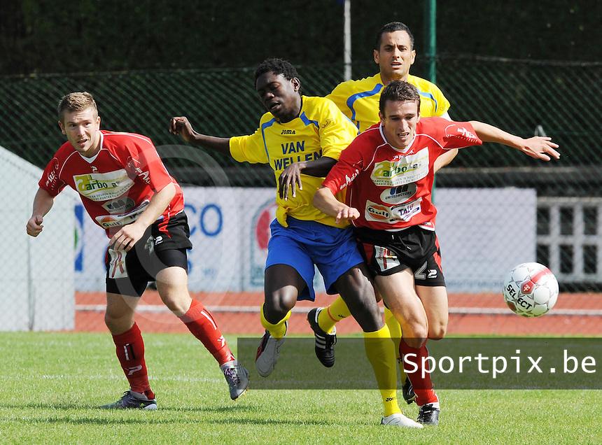 KFC Izegem - R Kappellen FC : Frederique Ollivier (rechts) in duel met Thierry Nana Diela (midden).foto VDB / BART VANDENBROUCKE