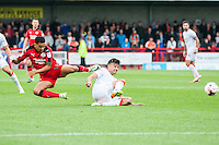 Billy Clifford of Crawley Town (18) (left) in a midfield battle  during the Sky Bet League 2 match between Crawley Town and Luton Town at the Broadfield/Checkatrade.com Stadium, Crawley, England on 17 September 2016. Photo by Edward Thomas / PRiME Media Images.