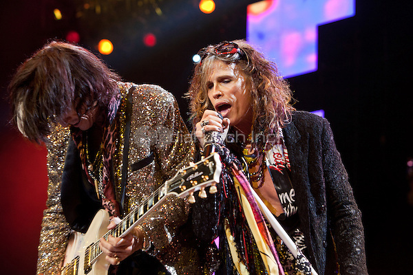 Joe Perry and Steven Tyler of Aerosmith in concert at The Palace Of Auburn Hills in Auburn Hills, Michigan. July 5, 2012. Credit: MediaPunch Inc.