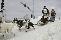 Heather Sirtola in Anchorage on Saturday March 1st during the ceremonial start day of the 2008 Iidtarod Sled Dog Race.