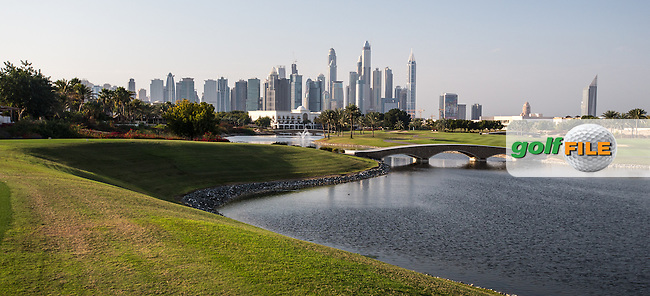 One of many vantage points on the 18th tee at The Address Montgomerie Golf Club, Dubai, United Arab Emirates.  27/01/2016. Picture: Golffile | David Lloyd<br /> <br /> All photos usage must carry mandatory copyright credit (&copy; Golffile | David Lloyd)