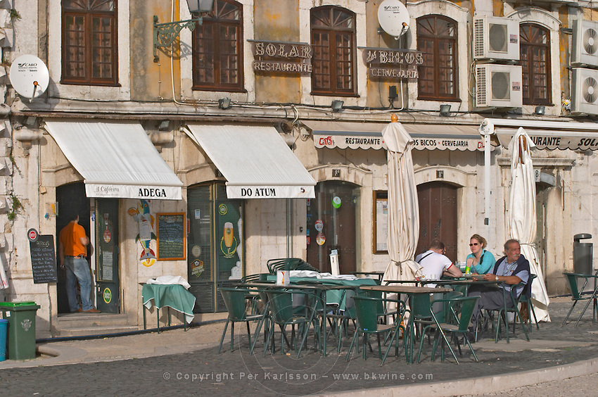 A cafe and restaurant. Hotel in the old harbour district. Street view. Lisbon, Portugal