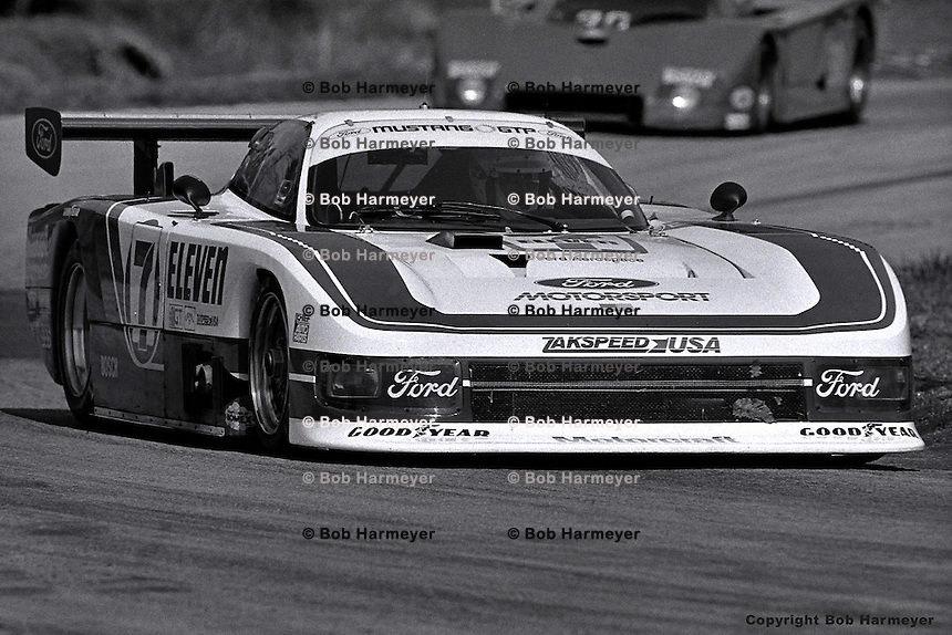Bobby Rahal drives the Ford Mustang GTP entered by Team Zakspeed Roush in the 1984 IMSA race at Road Atlanta, Braselton, Georgia, USA.