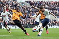 Ben Davies of Tottenham Hotspur gets in a shot past Willy Boly of Wolverhampton Wanderers/ during Tottenham Hotspur vs Wolverhampton Wanderers, Premier League Football at Tottenham Hotspur Stadium on 1st March 2020