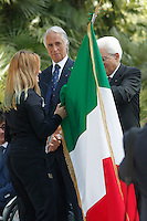 Sergio Mattarella consegna la bandiera alla portabandiera  Martina Caironi.<br /> Sergio Mattarella delivers the flag to the standard-bearer Martina Caironi<br /> Roma 22-06-2016 Quirinale. Incontro del presidente con gli atleti che parteciperanno alle olimpiadi e alle paralimpiadi di Rio 2016, e consegna della bandiera alle rispettive portabandiera, che quest'anno sono due donne.<br /> Rome 22nd June 2016. Quirinal. The President meets the italian athletes of the Rio 2016 Olympic Games and delivers the flag to the respective standard-bearers<br /> Photo Samantha Zucchi Insidefoto