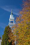 Fall foliage at the West Barnsatble Church in Barnstable, Cape Cod, Massachusetts, USA
