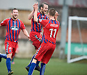 Ross O'Donoghue celebrates after he scores Elgin's third.
