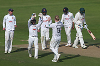Simon Harmer of Essex celebrates with his team mates after taking the wicket of Lyndon James during Nottinghamshire CCC vs Essex CCC, Specsavers County Championship Division 1 Cricket at Trent Bridge on 12th September 2018