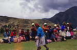 Chinchero is a small Andean Indian village located high up on the windswept plains of Anta at 3762m about 30km from Cusco. There are beautiful views overlooking the Sacred Valley of the Incas, with the Cordillera Vilcabamba and the snow-capped peak of Salkantay dominating the western horizon. Chinchero is believed to be the mythical birthplace of the rainbow. Its major claim to tourism is its colourful Sunday market which is much less tourist-orientated than the market at Pisac. The village may have been an important town in Inca times.