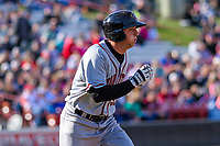 Quad Cities River Bandits outfielder Carmen Benedetti (37) runs to first during a Midwest League game against the Wisconsin Timber Rattlers on April 8, 2017 at Fox Cities Stadium in Appleton, Wisconsin.  Wisconsin defeated Quad Cities 3-2. (Brad Krause/Four Seam Images)