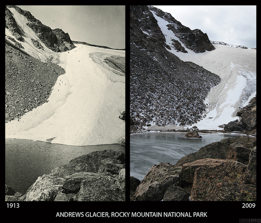 A photo comparison of Andrews Glacier in Rocky Mountain National Park, Colorado, 1913 and 2009.