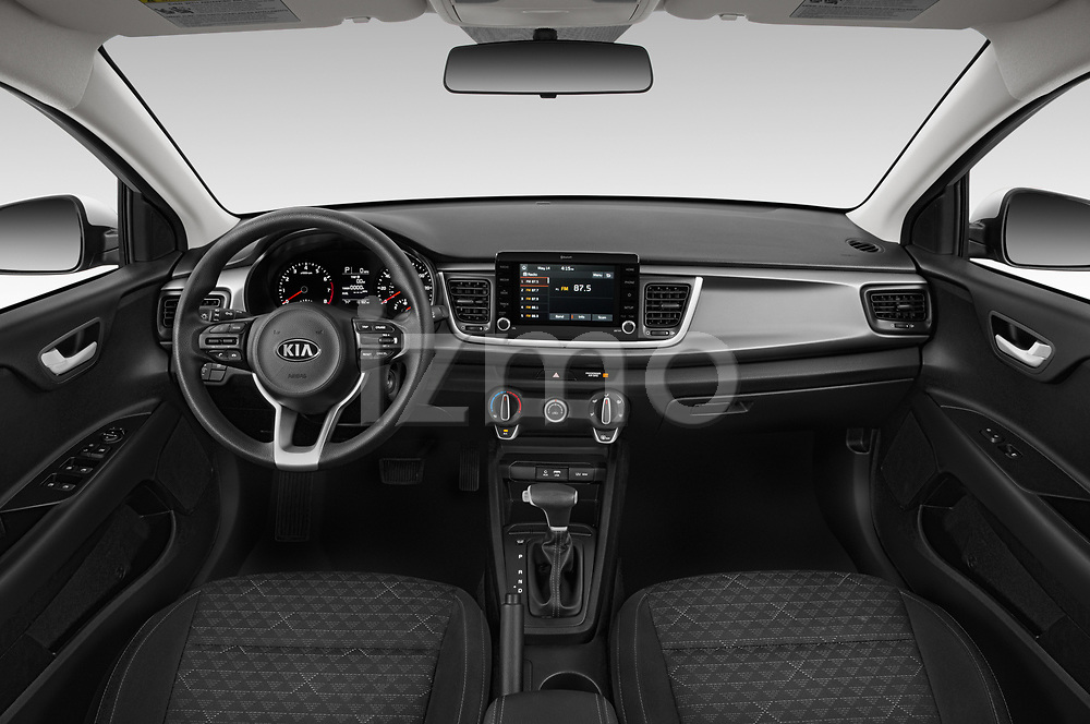 Stock photo of straight dashboard view of a 2019 KIA Rio S 4 Door Sedan
