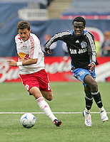 New York Red Bulls' Sinisa Ubiparipovic (8) is chased by San Jose Earthquakes' Kei Kamara (16) in the first half of an MLS soccer match at Giants Stadium in East Rutherford, N.J. on Sunday, April 27, 2008. The Red Bulls defeated the Earthquakes 2-0.