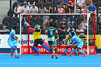 India's goalkeeper Vikas Dahiya makes a terrific save to deny Pakistan a goal during the Hockey World League Semi-Final match between Pakistan and India at the Olympic Park, London, England on 18 June 2017. Photo by Steve McCarthy.