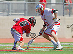 Palos Verdes, CA 03/26/16 - Jake Brannon (San Clemente #6) and Jarrett Jones (Palos Verdes #6) in action during the CIF Boys Lacrosse game between San Clemente Tritons and the Palos Verdes Seakings at Palos Verdes High School.  Palos Verdes defeated San Clemente 11-6