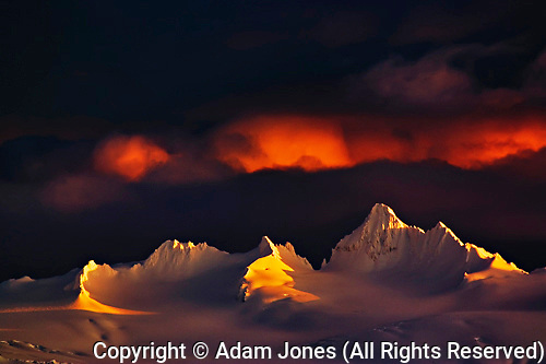 Winter sunset, Kenai Mountains, from Homer, Alaska