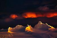 Winter sunset, Kenai Mountains, from Homer, Alaska