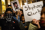 SACRAMENTO, CALIFORNIA - MARCH 30, 2018: Black Lives Matter activists and community members protest at City Hall in downtown Sacramento. In the days since Stephon Clark, 22, was fatally shot by officers investigating a vandalism complaint in his south Sacramento neighborhood, protesters have stormed City Hall and taken to the streets in anger. CREDIT: Max Whittaker for The New York Times