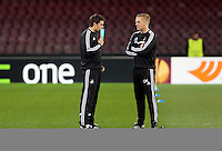 Wednesday 26 February 2014<br /> Pictured L-R: Assistant manager Pep and manager Garry Monk in training.<br /> Re: Swansea City FC press conference and training at San Paolo in Naples Italy for their UEFA Europa League game against Napoli.